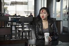 Coffee Shop Slaying (shawnsosa) Tags: portrait gun location starbucks conceptual onlocation gunshot conceptualportrait