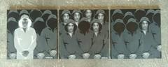 Stranger/Strange/Strangers (nder) Tags: street urban white streetart black paris art trois gris hoodie stencil artist noir urbana lin blanc toile urbain artiste pochoir ender nuances contemporain capuche canevas