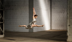What a day....... (fehlfarben_bine) Tags: ballet woman warehouse splitjump naturellight danceproject nikondf