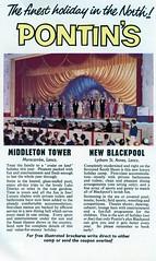Pontins advert 1965 - Blackpool and Middleton Tower (trainsandstuff) Tags: retro advert 1960s blackpool pontins middletontower