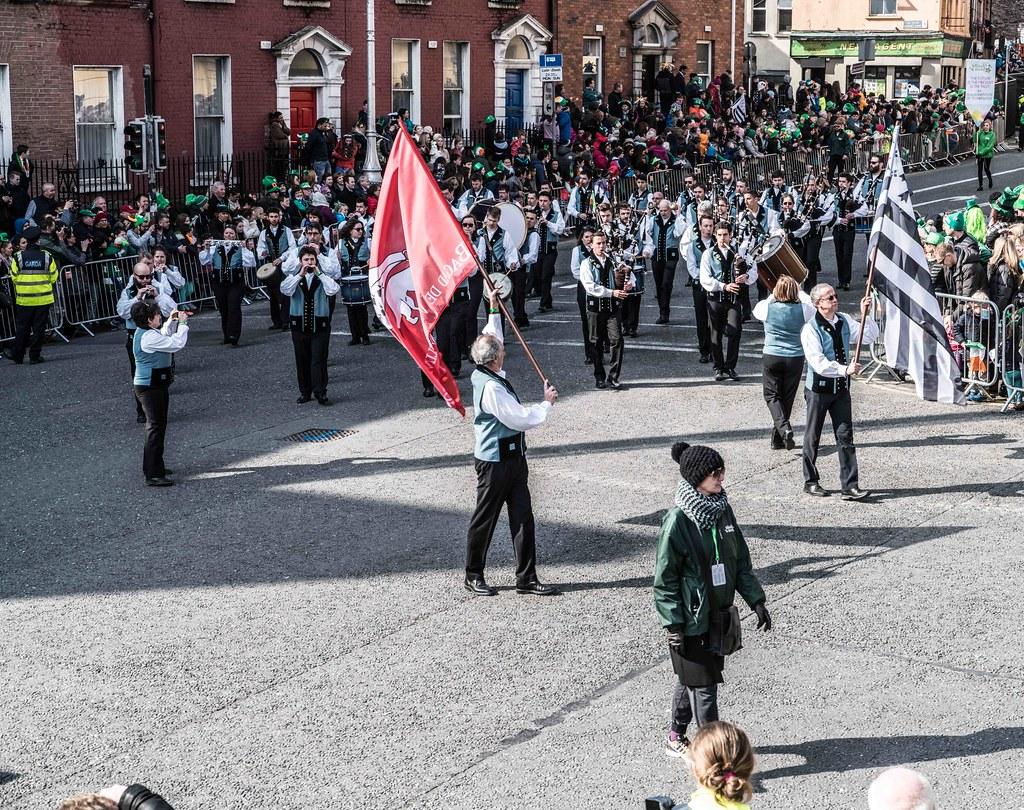 Bagad de Vannes Melinerion Brittany [St. Patrick's Parade In Dublin 2016]-112383