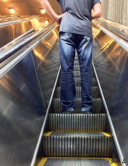 Dtermin (Jean S..) Tags: male stairs reflections lights escalator jeans