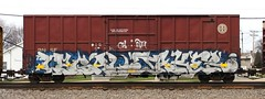 Legal/Jaker (quiet-silence) Tags: railroad art train graffiti railcar boxcar graff freight bnsf legal gk jaker fr8 endtoend bth e2e bnsf728719