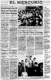 09. Portada El Mercurio sobre su funeral