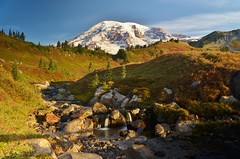 Morning at Mount Rainier - Explore (RWGrennan) Tags: park morning travel trees shadow mountain fall water skyline landscape waterfall washington nikon stream long exposure paradise nw northwest nps ryan meadow hike glacier mount trail national rainier 5100 cascade grennan d5100 rwgrennan rgrennan