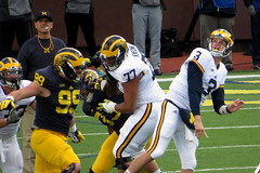 Coach Looks Worried on This One (RichKD) Tags: motion game college sports football spring action michigan jim harbaugh wilton wolverines 2016 speight ann arbor blue go