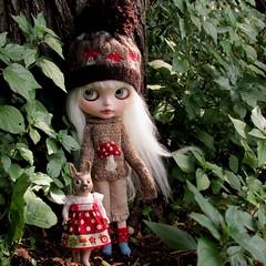 Walk in the Woods (SJB Dolls) Tags: bunny mushroom sweater woods doll bisque blythe custom jacqlynsblythe