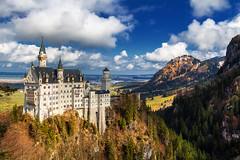 Neuschwanstein Castle (DaLiu_) Tags: blue trees winter sky lake inspiration snow mountains alps cold castle nature beautiful weather yellow architecture forest germany landscape outdoors bayern bavaria twilight europe view dusk scenic landmark medieval snowcapped story fairy alpine alpen inspirational romanesque neuschwanstein viewpoint idyllic ages tale magnificent romanic bavarian hohenschwangau wintery schwangau forggensee