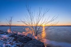 April Sunset (Simon Brazeau) Tags: sunset cold ice water river spring nikon little ottawa lanscape stopper d800 1635