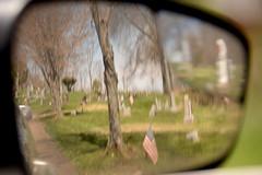 Car Mirror 2 (Sarah Hina) Tags: cemetery reflections rearviewmirror lookingback carmirror