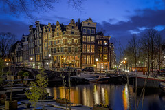 (angheloflores) Tags: travel houses sunset sky urban holland netherlands colors amsterdam architecture night clouds reflections lights canal cityscape explore brouwersgracht