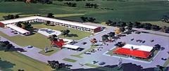 Howard Johnson's Motor Lodge New Stanton PA (Edge and corner wear) Tags: vintage hotel pc inn artist view postcard motel aerial architectural lodge motor rendering hojo hojos
