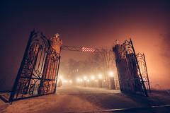 Gates to fog (konstantinkulak) Tags: longexposure mist fog architecture night nikon gates creepy vsco ilobsterit