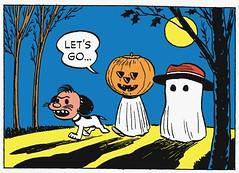 Let's go (Tom Simpson) Tags: trees moon halloween illustration night vintage dark comics pumpkin costume jackolantern peanuts 1950s snoopy comicstrip charliebrown charlesschulz 1952 charlesmschulz newspapercomics