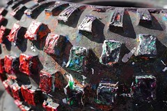 Colourfully tinged tyre textures (popbangcolour) Tags: colour paint acrylic wheels colourful tyres treads popbang popbangcolour
