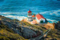Point Reyes Light - Textured (byron bauer) Tags: ocean cliff lighthouse painterly texture water rocks waves path byronbauer