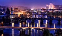 Mystic Prague (One_Penny) Tags: city morning travel blue light sky urban tower church colors skyline architecture sunrise river photography dawn early town twilight cityscape prague spires bridges prag praha tschechien czechrepublic bluehour charlesbridge vltava karluvmost fumes moldau canon6d