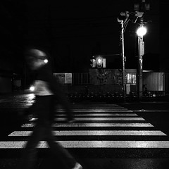 whispering brushes on wet pavement (tabiwallah) Tags: blackandwhite monochrome rain night tokyo mood yanesen bnw yanaka hipstamatic