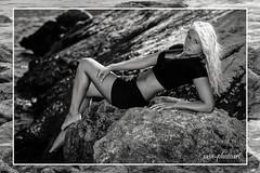 on the rocks (sasa_photoart) Tags: sea portrait woman holiday sexy beach girl beauty rock blackwhite model blonde shooting mallorca paguera