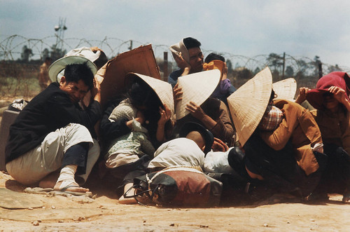 1972 South Vietnamese citizens seek shelter during the Vietnam War. Photo by Don McCullin (United Kingd