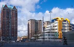Blaak, Rotterdam (natures-pencil) Tags: bridge building netherlands architecture rotterdam blaak nederland bluesky highrise colourful lovelycity
