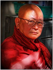 Yangon - Monk (sharko333) Tags: voyage street people man asia asien yangon burma monk olympus myanmar asie birma reise rangoon e5 tavel