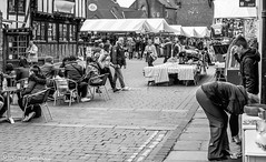 Market day in York,  but first a coffee. (steve.gombocz) Tags: york blackandwhite bw blackwhite cafe noiretblanc markets olympus schwartz marketday whiteblack negroyblanco bwphotos olympuscamera schwartzundweiss olympusem5mark2camera olympusm25mmf18lens
