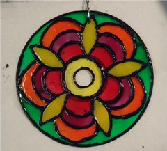 SAM_1978-a (~Mischa) Tags: design colorful paint circles patterns stainedglass suncatcher hanging projects windchimes cdart puffypaint glassstain plasticspheres liquidleading