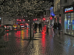 A Wet Night (Deepgreen2009) Tags: red urban wet rain weather reflections lights town colours surrey paving epsom