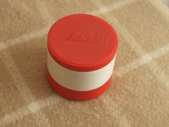 Aladdin Red Thermos (vintage-13) Tags: red food classic vintage beige 60s colorful forsale nashville cream ivory kitsch thermo retro container plastic 80s jar 70s 1960s etsy 1970s aladdin 1980s thermos insulated 7000 storages