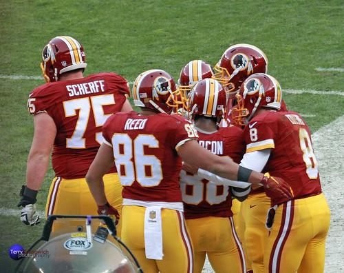 Redskins offense celebrates Pierre Garcon's touchdown.