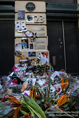Flowers for David Bowie in front of the building where the Ziggy Stardust album cover was shot