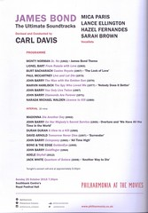 Carl Davis conducts Bond - program (greentool2002) Tags: music london festival james hall concert october ultimate films sunday royal southbank carl orchestra bond movies 25th davis soundtracks 2015 conducts philharmonia