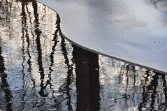 (christiaan_25) Tags: trees sky white black reflection ice nature water dark flow frozen shine bright opposite branches complementary trunks shape yinandyang unfrozen  ynyng darkbright