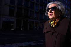 Lady with sunglasses (BrianGeorgeM) Tags: street city italy woman milan sunglasses lady female photography md italia minolta milano sony 28mm elderly elegant f28 a7