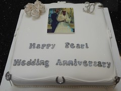 30th Wedding Anniversary (Victorious_Sponge) Tags: flowers wedding white cake silver square groom bride photo anniversary pearl 30th 25th