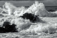 'Stormy Seas' - B&W version (Freshairphotography) Tags: ocean bw britishcolumbia vancouverisland pacificocean westcoast ucluelet winterstorm crashingwaves comparisons rocksandwater stormyseas twofertuesday angryocean explorebc explorevancouverisland