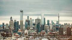 toronto winter skyline (-liyen-) Tags: city winter urban toronto ontario canada skyline buildings cloudy fromabove challengeyouwinner fujixt1