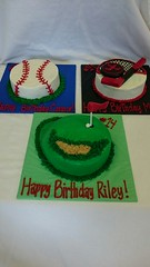 Round Sports Birthday Cakes (tasteoflovebakery) Tags: birthday blue red black green sports hockey cake kids ball golf gold sticks goal baseball teen round teenager clubs puck