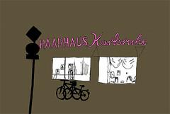 Haarhaus Karlsruhe_March 2016 (stevefaradaysketches) Tags: bikes roadsign karlsruhe hairdressers urbansketch haarhauskarlsruhe