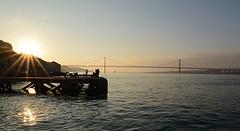 MiniDLT_3925_Cacilhas e Ponte_MPC_Almacidade (J. D'Allambert) Tags: bridge sunset sun sol portugal water river de golden pier fishing agua gate do lisboa abril ponte 25 crepusculo tejo pesca por cacilhas almada poente