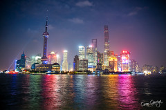 Night in Pudong, Shanghai, China (scar Garriga) Tags: china building tower colors night river tv asia shanghai center pearl oriental pudong financial bund jinmao skycraper jiang huangpu comunication swfc onelujiazui
