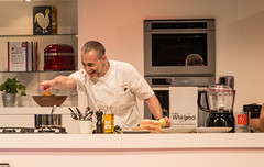 Michel Roux Jr (tubblesnap) Tags: show food celebrity fun fuji good jr demonstration chef bbc junior fujifilm harrogate michel pointing roux cookery starred michelroux xs1 tubblesnap