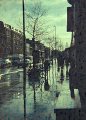 Mile End Road in the Rain (Matthew Huntbach) Tags: rain e1 eastlondon expiredfilm stepneygreen mileendroad 110format agfacolor halina110 pocketxrc200
