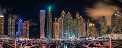 Dubai Marina Panorama (gags9999) Tags: tower night marina dubai nightscape princess towers torch dubaimarina tallest residentialbuilding cayan