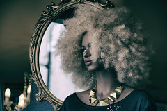 Imperfection (cuppyuppycake) Tags: reflection mannequin hair person mirror necklace big afro fake