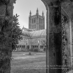 Hereford cathedral view from garden HDR (Jacek Wojnarowski Photography) Tags: old city uk england urban building tree tower history architecture facade vintage spring europe cathedral outdoor religion landmark retro herefordshire christianity spirituality hereford hdr squared blackandwhitephotography gothicarchitecture religiousbuildings religioussymbol buildingexterior englishgothicarchitecture bulitstructure