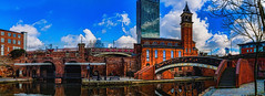 The Grocers' Warehouse - Castlefield (Kevin From Manchester) Tags: bridge england sky panorama reflection tower beautiful architecture clouds manchester canal colours waterfront northwest outdoor colorfull widescreen panoramic lancashire warehouse serene 1855mm archways hdr scenics waterways bridgewatercanal canon1855mm castlefileds kevinwalker canon1100d
