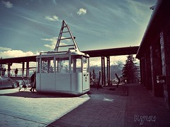 old cable car (Ryuu) Tags: sky people urban dog mountains monochrome car architecture clouds composition landscape terrace metallic candid silhouettes machine monotone cablecar paving lightshadow bluish wagoon