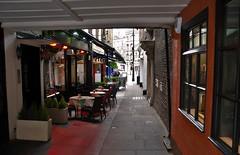 One of the Alleyways in Shepherd Market, Curzon. Mayfair. London (standhisround) Tags: uk building london architecture buildings restaurant alley chairs market alleyway seats tables mayfair curzon shepherdmarket hiddenlondon